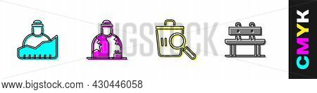 Set Growth Of Homeless, Homeless, Searching For Food And Bench Icon. Vector