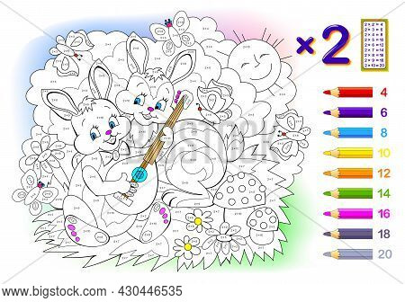 Multiplication Table By 2 For Kids. Math Education. Coloring Book. Solve Examples And Paint The Rabb