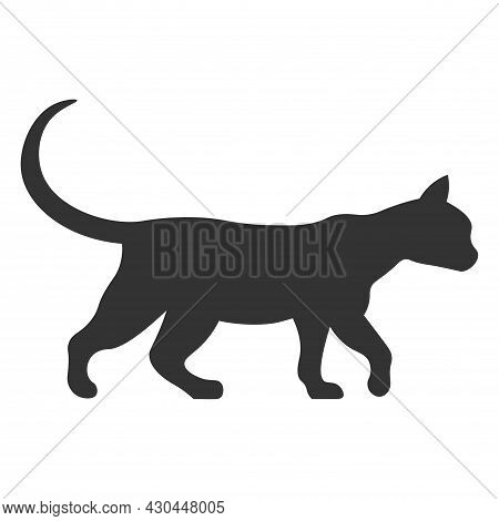 Silhouette Of Walking Cat Isolated On White Background. Vector Illustration. Pet Symbol, Grace, Pet