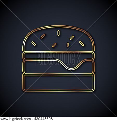 Gold Line Burger Icon Isolated On Black Background. Hamburger Icon. Cheeseburger Sandwich Sign. Fast