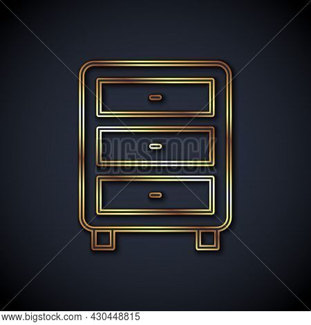 Gold Line Archive Papers Drawer Icon Isolated On Black Background. Drawer With Documents. File Cabin