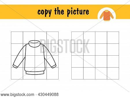 Children S Mini-game On Paper, Repeat The Drawing Of The Sweater. Copy The Blouse Image Using Grid L