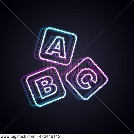 Glowing Neon Line Abc Blocks Icon Isolated On Black Background. Alphabet Cubes With Letters A, B, C.