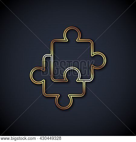 Gold Line Puzzle Pieces Toy Icon Isolated On Black Background. Vector