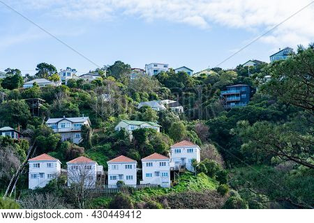 Hillside Homes With Group Of Similar Repeating Architecture Across Valley In Tinakori, Wellington.
