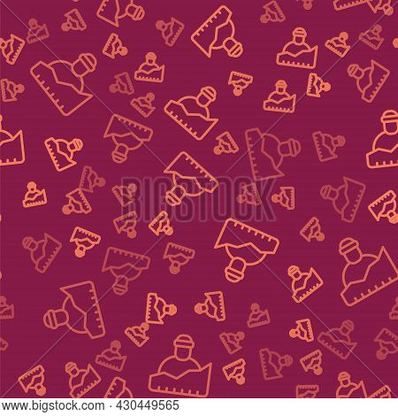 Brown Line Growth Of Homeless Icon Isolated Seamless Pattern On Red Background. Homelessness Problem