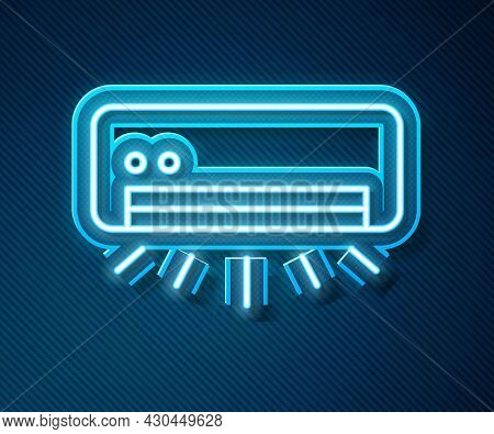 Glowing Neon Line Air Conditioner Icon Isolated On Blue Background. Split System Air Conditioning. C