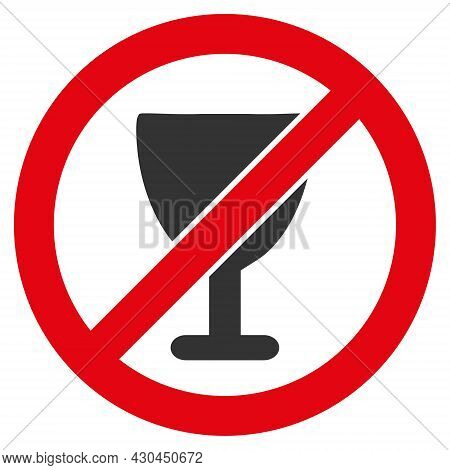 Forbid Wine Glass Icon With Flat Style. Isolated Vector Forbid Wine Glass Icon Image On A White Back
