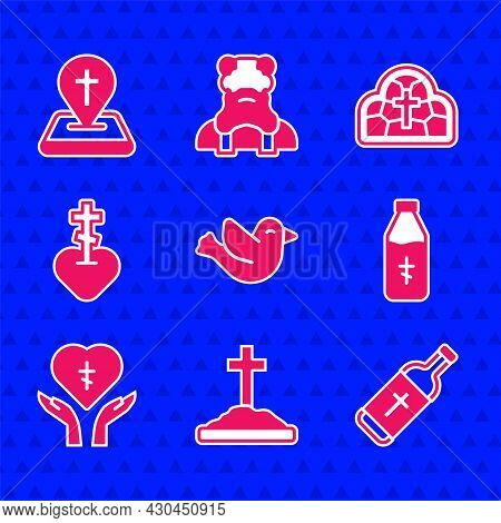 Set Dove, Grave With Cross, Holy Water Bottle, Religious In Heart, Stained Glass And Location Church