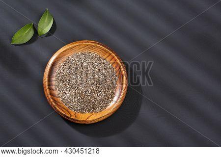 Healthy Chia Seeds In The Bowl - Salvia Hispanica