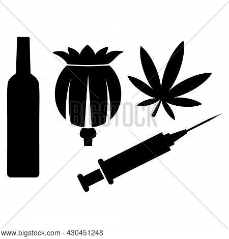 Addiction Drugs Icon With Flat Style. Isolated Vector Addiction Drugs Icon Image On A White Backgrou