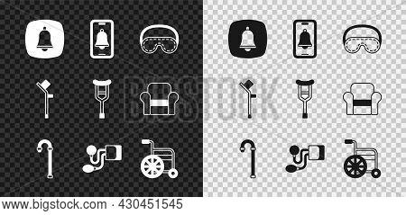 Set Emergency Phone Call, Eye Sleep Mask, Walking Stick Cane, Blood Pressure, Wheelchair, Crutch Or