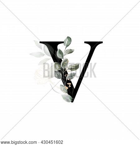 Capital Letter V Decorated With Golden Flower And Leaves. Letter Of The English Alphabet With Floral
