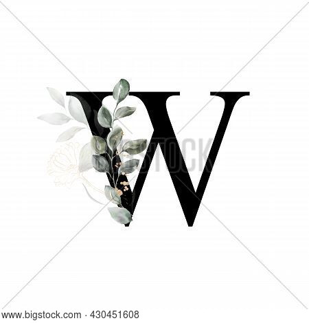 Capital Letter W Decorated With Golden Flower And Leaves. Letter Of The English Alphabet With Floral