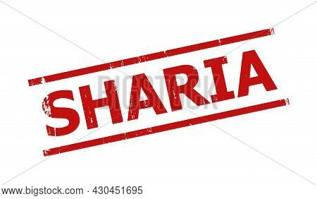 Red Sharia Seal. Sharia Seal Stamp With Parallel Line Design Elements. Rough Sharia Seal Stamp In Re