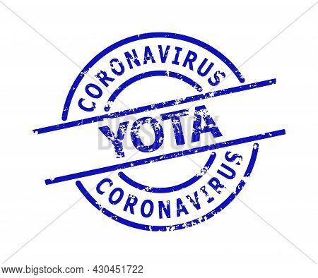 Blue Coronavirus Yota Round Seal Stamp. Coronavirus Yota Title Is Inside Round Shape. Rough Coronavi