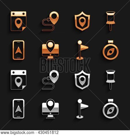 Set Monitor With Location Marker, Push Pin, Compass, Location, City Map Navigation, Shield, Travel P
