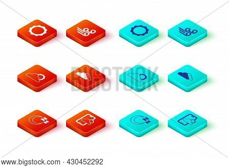Set Time To Sleep, Weather Forecast, Sun And Cloud Weather, Cloud, Windy And Icon. Vector