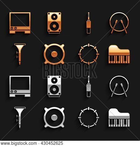 Set Stereo Speaker, Drum And Drum Sticks, Grand Piano, Tambourine, Audio Jack, Voice Assistant And I