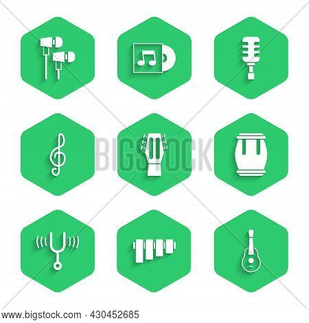 Set Guitar, Pan Flute, Drum, Musical Tuning Fork, Treble Clef, Microphone And Air Headphones Icon. V