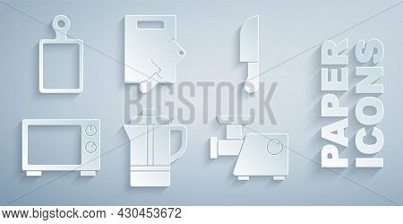 Set Teapot, Knife, Microwave Oven, Kitchen Meat Grinder, Cutting Board And Chopper And Icon. Vector