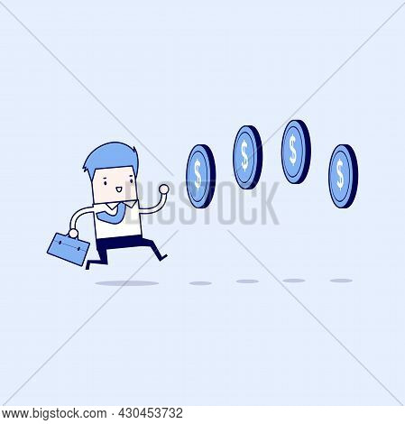 Businessman Chasing Coins Video Game Style. Cartoon Character Thin Line Style Vector.