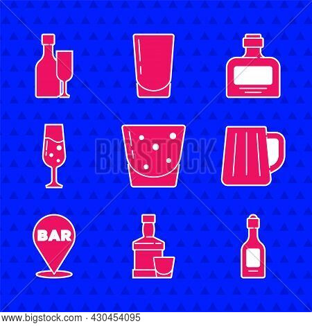 Set Glass Of Rum, Whiskey Bottle And Glass, Champagne, Wooden Beer Mug, Alcohol Bar Location, Champa