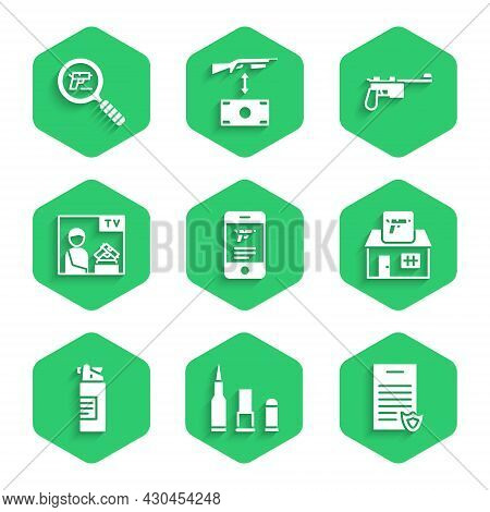 Set Shop Weapon In Mobile App, Bullet, Firearms License Certificate, Hunting Shop, Weapons Oil Bottl