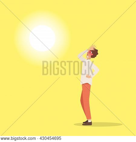 Hot Weather. Man Got Sunburn In Very Hot Summer Days.