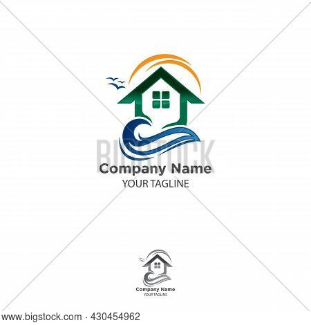 Beach House With Beautiful Sunset Vector Logo Design. Eps 10