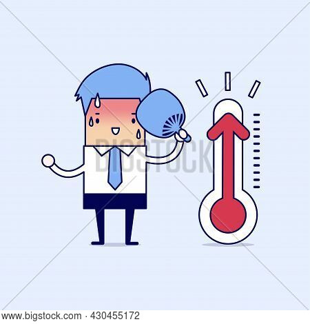 Businessman Very Hot Because Increased Temperature. Cartoon Character Thin Line Style Vector.