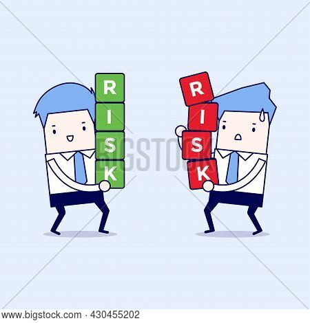 Two Businessman Carrying Risk Blocks. Risk Management. Cartoon Character Thin Line Style Vector.