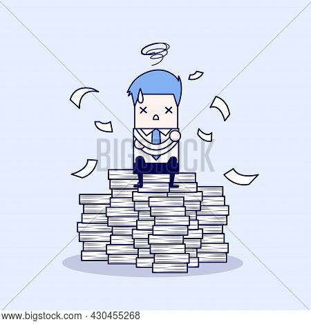 Businessman Tried And Stressed On Paperwork. Cartoon Character Thin Line Style Vector.