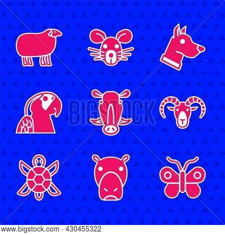 Set Wild Boar Head, Hippo Or Hippopotamus, Butterfly, Head Of Goat Ram, Turtle, Macaw Parrot, Dog An