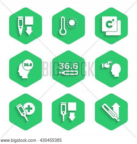 Set Medical Thermometer, Digital, Checking Body Temperature, Celsius And Icon. Vector