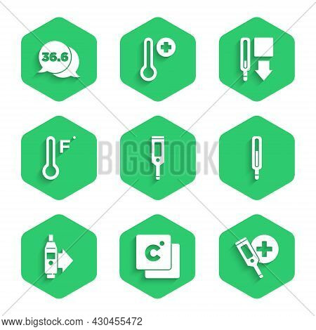Set Digital Thermometer, Celsius, Medical, Meteorology, And Icon. Vector