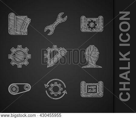Set Pencil And Gear, Gear Arrows As Workflow, House Plan, Worker Safety Helmet, Timing Belt Kit, Gra