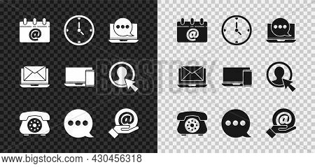 Set Calendar With Email, Clock, Chat Messages Notification On Laptop, Telephone, Speech Bubble Chat,