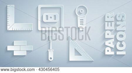 Set Screwdriver, Angle Grinder, Bricks, Triangular Ruler, Electrical Outlet And Corner Icon. Vector