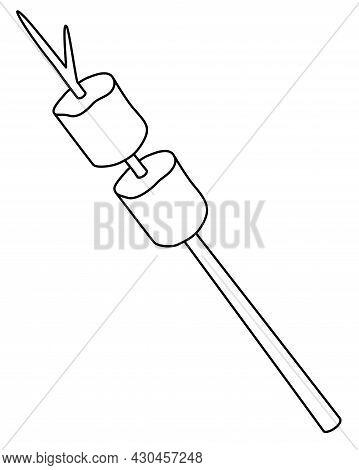 Marshmallows Fried On A Stick - Vector Linear Illustration For Coloring. Outline. Marshmallow Is A D