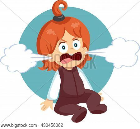 Angry Toddler Child Experiencing Rage Emotions Vector Cartoon