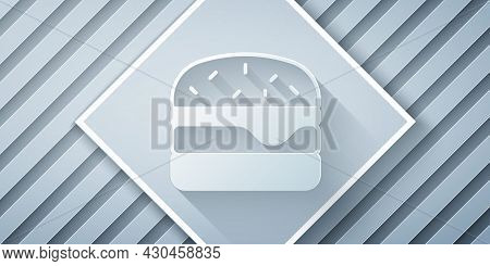 Paper Cut Burger Icon Isolated On Grey Background. Hamburger Icon. Cheeseburger Sandwich Sign. Fast