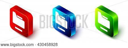 Isometric Document Folder Icon Isolated On White Background. Accounting Binder Symbol. Bookkeeping M