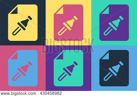 Pop Art Note Paper With Pinned Pushbutton Icon Isolated On Color Background. Memo Paper Sign. Vector