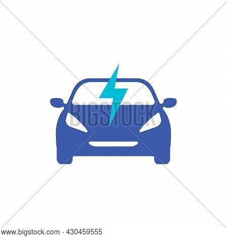 Electric Car Icon. Electrical Ev Charging Station Symbol.