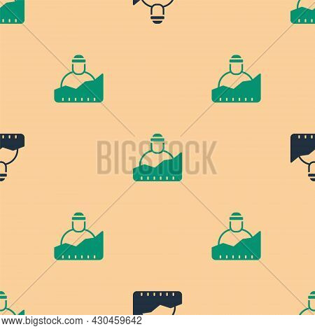 Green And Black Growth Of Homeless Icon Isolated Seamless Pattern On Beige Background. Homelessness