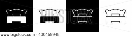 Set Bedroom Icon Isolated On Black And White Background. Wedding, Love, Marriage Symbol. Bedroom Cre