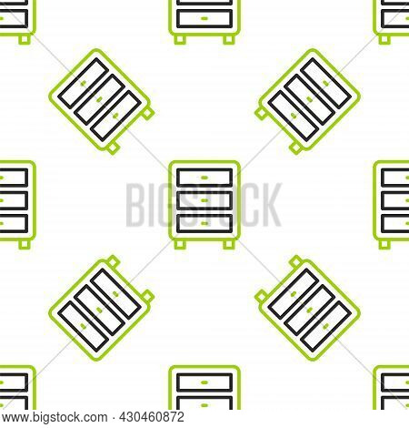 Line Archive Papers Drawer Icon Isolated Seamless Pattern On White Background. Drawer With Documents