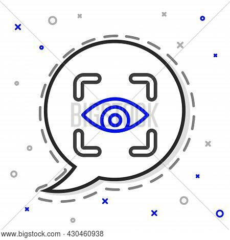 Line Eye Scan Icon Isolated On White Background. Scanning Eye. Security Check Symbol. Cyber Eye Sign