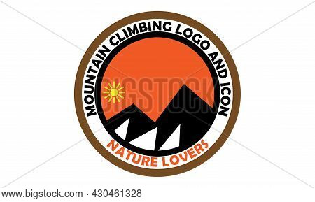 Vector Illustration Of A Snowy Mountain With Sun, Orange Color, Inside A Circle. Great For Icons And
